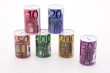 metalen spaarpot eurobiljet print
